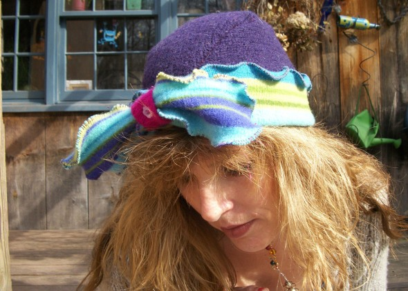 Top view of Pam's hat with bow
